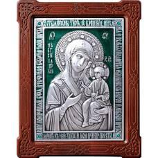 Иверская икона Божией Матери в серебре с эмалью и деревянной рамке (арт. 12240203)