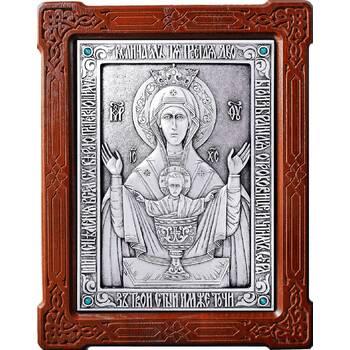 Икона Божией Матери Неупиваемая Чаша (Владычный монастырь) в серебре и деревянной рамке (арт. 12240204)