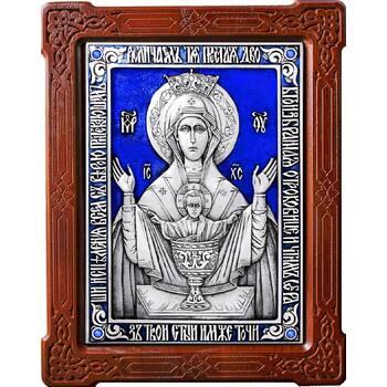 Икона Божией Матери Неупиваемая Чаша (Владычный монастырь) в серебре с эмалью и деревянной рамке (арт. 12240205)