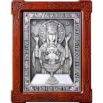 Икона Божией Матери Неупиваемая Чаша (Владычный монастырь) в серебре и деревянной рамке (арт. 12240206)
