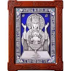 Икона Божией Матери Неупиваемая Чаша (Владычный монастырь) в серебре и эмали (арт. 12240207)