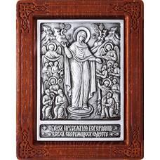 Икона Божией Матери Всех Скорбящих Радость в серебре с деревянным окладом (арт. 12240208)