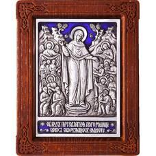 Икона Божией Матери Всех Скорбящих Радость в серебре с эмалью (арт. 12240209)