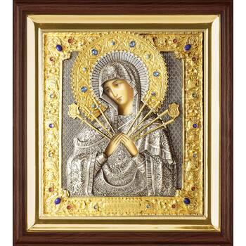 Семистрельная икона Божией матери (Умягчение злых сердец) в ризе в деревянном киоте (арт. 1224021)