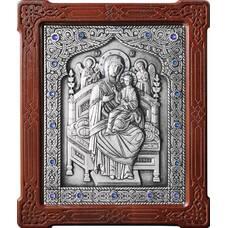 Икона Божией Матери Всецарица (Пантанасса) в серебре и деревянной рамке (арт. 12240210)