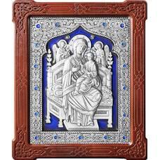 Икона Божией Матери Всецарица (Пантанасса) в серебре с эмалью и деревянной рамке (арт. 12240211)