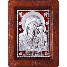 Казанская икона Божией Матери в серебре с эмалью и деревянной рамке (арт. 12240213)