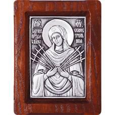 Семистрельная икона Божией Матери в серебре и деревянной рамке 12240214