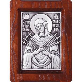Семистрельная икона Божией Матери в серебре и деревянной рамке (арт. 12240214)