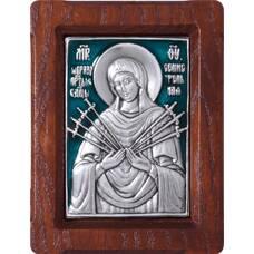Семистрельная икона Божией Матери в серебре с эмалью и деревянной рамке 12240215