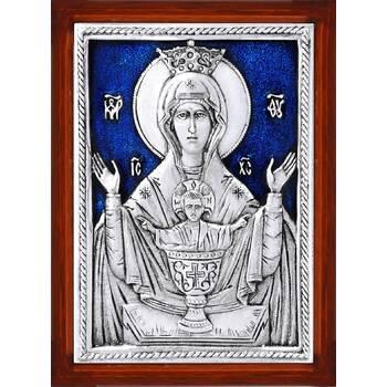 Икона Божией Матери Неупиваемая Чаша в серебре с эмалью и деревянной рамке (арт. 12240217)