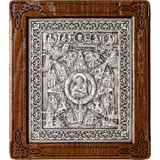 Неопалимая Купина икона Божией Матери в серебре и деревянной рамки (арт. 12240218)