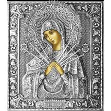 Семистрельная икона Божией матери (Умягчение злых сердец) в ризе (арт. 1224022)