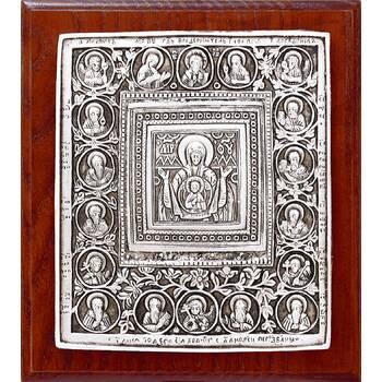 Икона Божией Матери Знамение в серебре и деревянной рамке (арт. 12240220)