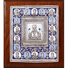 Икона Божией Матери Знамение в серебре с эмалью и деревянной рамке (арт. 12240221)
