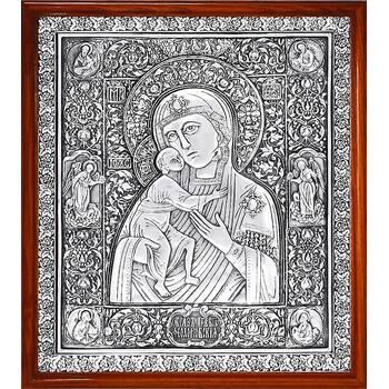 Федоровская икона Божией Матери в серебре и деревянной рамке (арт. 12240222)