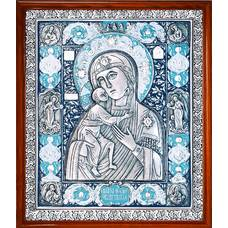 Федоровская икона Божией Матери в серебре с эмалью и деревянной рамке (арт. 12240223)