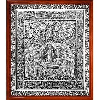 Икона Успение Пресвятой Богородицы в серебре и деревянной рамке (арт. 12240224)