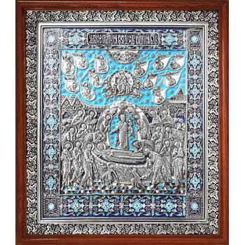 Икона Успение Пресвятой Богородицы в серебре и эмалью в деревянной рамке (арт. 12240226)