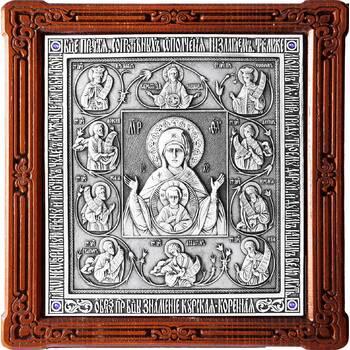 Курская коренная икона Божией Матери (Знамение) в серебре и деревянной рамке (арт. 12240227)
