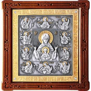 Курская коренная икона Божией Матери (Знамение) в серебре с позолотой и деревянной рамке (арт. 12240229)