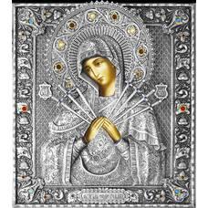 Семистрельная икона Божией матери (Умягчение злых сердец) в ризе (арт. 1224023)