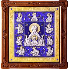 Курская коренная икона Божией Матери (Знамение) в серебре с позолтой и эмалью (арт. 12240230)