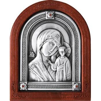 Казанская икона Божией Матери в серебре и деревянной рамке (арт. 12240231)