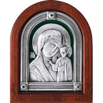 Казанская икона Божией Матери в серебре с эмалью и деревянной рамке (арт. 12240232)