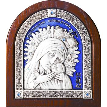 Корсунская икона Божией Матери в серебре с эмалью и деревянной рамке (арт. 12240236)