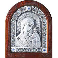 Казанская икона Божией Матери в серебре и деревянной рамке (арт. 12240237)