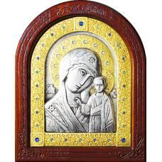 Казанская икона Божией Матери в серебре с позолотой и деревянной рамке (арт. 12240239)