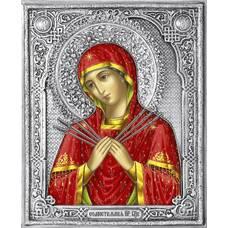 Семистрельная икона Божией матери (Умягчение злых сердец) в ризе (арт. 1224024)