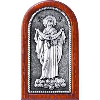 Икона Покрова Богородицы в серебре и деревянной рамке (арт. 12240241)