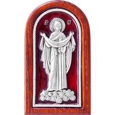 Икона Покрова Богородицы в серебре с эмалью и деревянной рамке (арт. 12240242)