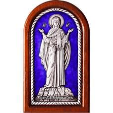 Икона Божией Матери Нерушимая Стена в серебре с эмалью 12240244