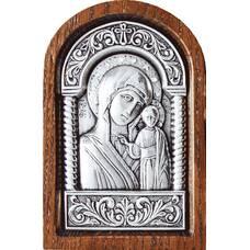 Казанская икона Божией Матери в серебре и деревянной рамке (арт. 12240245)