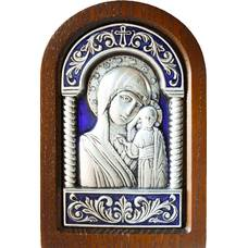 Казанская икона Божией Матери в серебре с эмалью и деревянной рамке (арт. 12240246)