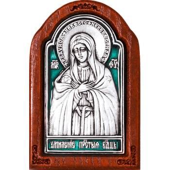 Икона Божией Матери Умиление в серебре с эмалью и деревянной рамке (арт. 12240248)