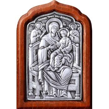 Икона Божией Матери Всецарица (Пантанасса) в серебре и деревянной рамке (арт. 12240249)
