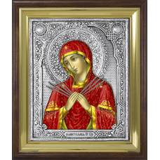 Семистрельная икона Божией матери (Умягчение злых сердец) в ризе и деревянном киоте (арт. 1224025)