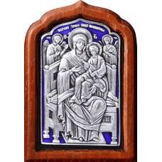 Икона Божией Матери Всецарица (Пантанасса) в серебре с эмалью и деревянной рамке (арт. 12240250)