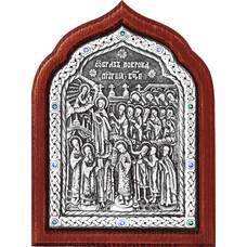 Икона Покрова Богородицы в серебре и деревянной рамке (арт. 12240251)