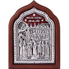 Икона Покрова Богородицы в серебре с эмалью и деревянной рамке (арт. 12240252)
