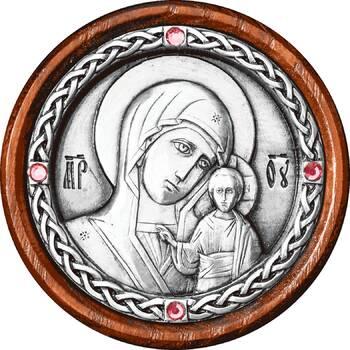Икона в машину образ Казанской Божией Матери в серебре (арт. 12240253)
