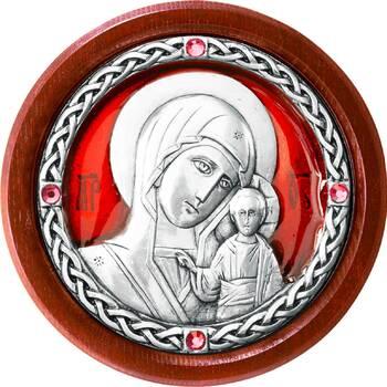 Икона в машину образ Казанской Божией Матери в серебре с эмалью (арт. 12240254)