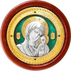 Казанская икона Божией Матери в серебре с позолотой и эмалью (арт. 12240259)