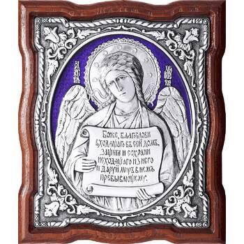 Икона Ангела Хранителя в серебре с эмалью и в деревянной рамке (арт. 12240261)