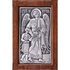 Икона Ангела Хранителя в серебре и в деревянной рамке (арт. 12240268)
