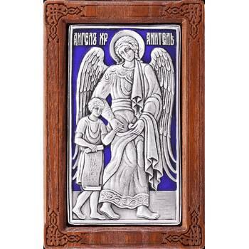 Икона Ангела Хранителя в серебре с эмалью и в деревянной рамке (арт. 12240269)